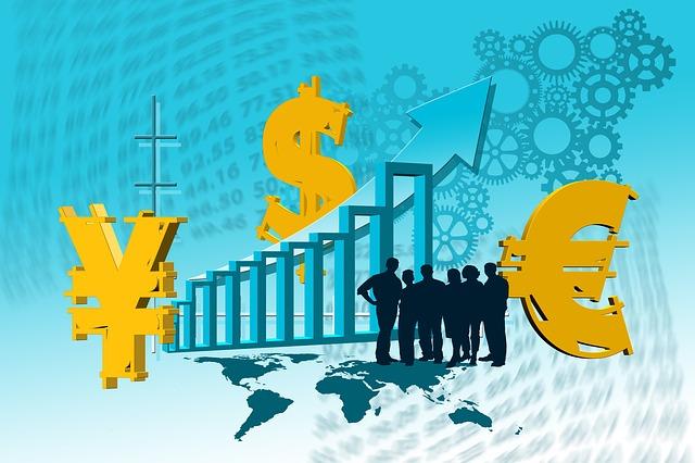 finanční růst, graf, siluety